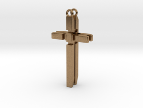 Men's Cross Necklace V2 - FRONT in Raw Brass