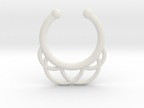 Faux Septum Ring - outer semicircles in White Natural Versatile Plastic