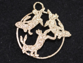 Dancing Hares in Natural Bronze