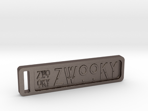 ZWOOKY Keyring 14 rounded 6cm 4mm in Polished Bronzed Silver Steel