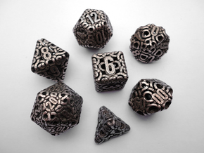 Ring Dice Set With Decader in Polished Bronzed Silver Steel