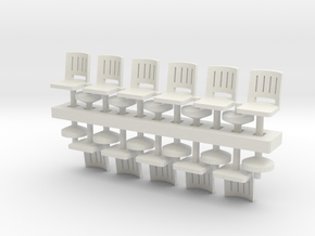 Barstools x11 HO Scale in White Natural Versatile Plastic