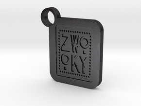 ZWOOKY Keyring LOGO 34 5cm 6mm in Polished and Bronzed Black Steel