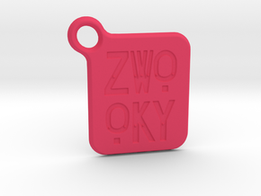 ZWOOKY Keyring LOGO 14 3cm 2mm rounded in Pink Processed Versatile Plastic