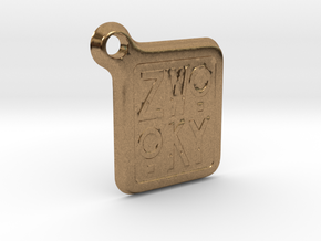 ZWOOKY Keyring LOGO 12 4cm 3mm rounded in Natural Brass