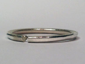 Secret Hidden Heart Ring (Size 9) in Polished Silver