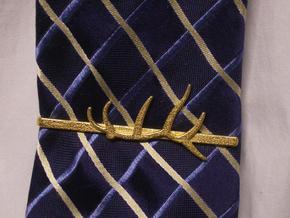 Elk Antler Tie Clip in Polished Gold Steel