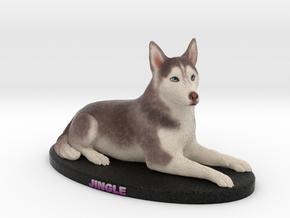 Custom Dog Figurine - Jingle (Lying) in Full Color Sandstone