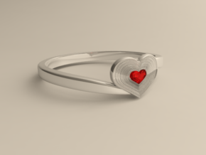 Heart of ruby ring in Polished Silver