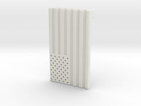 American Flag Belt Buckle in White Natural Versatile Plastic