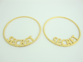 Custom Hoop Earrings - Secret 50mm in Polished Gold Steel