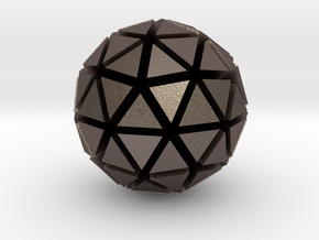 Tri-Ico-Sphere in Polished Bronzed Silver Steel