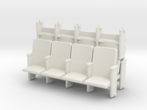 4 X 3 Theater Seats HO Scale in White Strong & Flexible