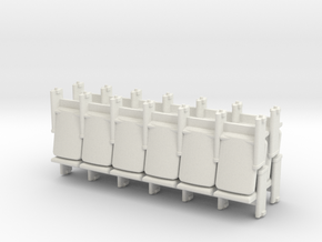 6 x 4 Theater Seats HO Scale in White Natural Versatile Plastic
