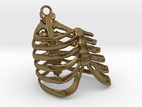 Ribcage Pendant or Finger Ring - 17mm ID in Raw Bronze