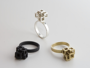 Quadro Ring - US 8 in Natural Brass