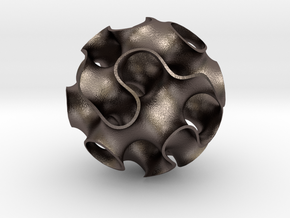 Large Gyroid in Polished Bronzed Silver Steel