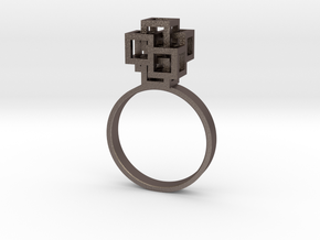 Quadro Ring - US 8 in Polished Bronzed Silver Steel