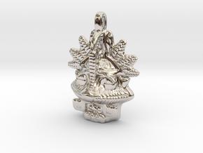 MAYAN Designer Jewelry Pendant Mask in Platinum