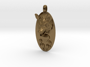 WOLF HEAD&PAWN Jewelry Pendant in Natural Bronze