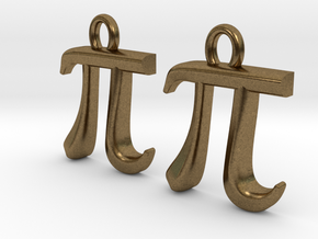 Pi Earrings in Natural Bronze