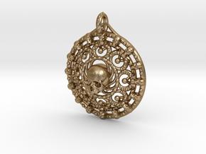 Skull Mandala in Polished Gold Steel