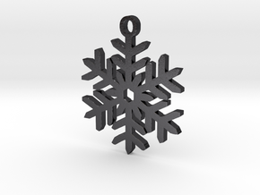Snowflake Pendant Necklace in Polished Grey Steel