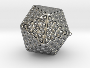 Christmas Tree Ornament Icosahedron Smaller in Natural Silver