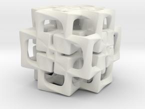 Fused Cubes smaller in White Natural Versatile Plastic
