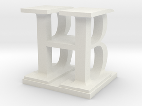 Two way letter / initial B&H in White Natural Versatile Plastic