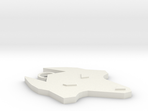 Wolf Keychain in White Natural Versatile Plastic
