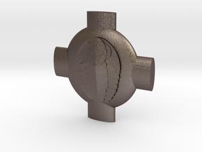 Heterodyne Pin in Polished Bronzed Silver Steel