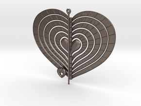 Heart Swap Spinner Flat Radial Etch - 15cm in Polished Bronzed Silver Steel