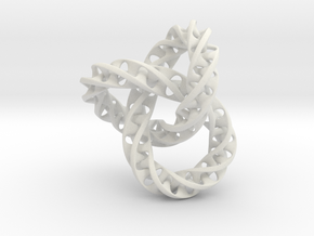 Fused  Interlocked Mobius Infinity Knot in White Natural Versatile Plastic