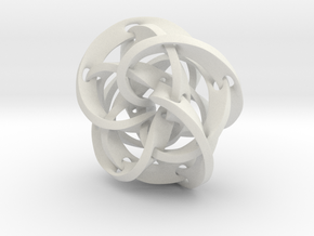 Knotted Torus Strips fused Together in White Natural Versatile Plastic