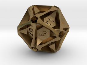 Geometric d20 [Metals] (engraved) in Natural Bronze