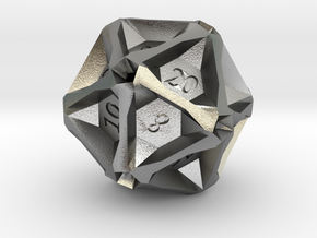 Geometric d20 [Metals] (engraved) in Natural Silver