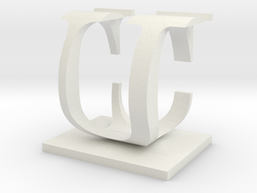Two way letter / initial C&U in White Natural Versatile Plastic