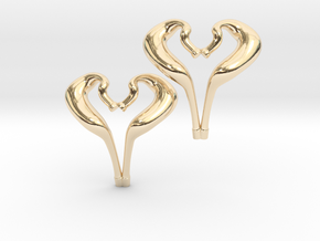I love 2-Strokes Motorcycle Pipe Heart Earrings in 14K Yellow Gold