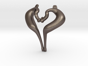 I Love 2-strokes Pendant Motorcycle Pipes in Polished Bronzed Silver Steel