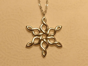Snowflake Pendant 30mm in Polished Silver: Medium