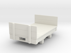Gn15 small 5ft flat wagon with ends  in White Natural Versatile Plastic