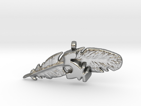 5K FEATHER NECKLACE in Natural Silver