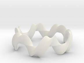 Mobius bracelet 06  in White Natural Versatile Plastic