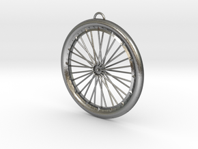 Custom bike bicycle wheel pendant  in Natural Silver