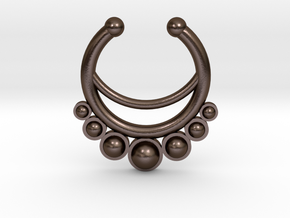 Faux Septum Ring - dropped stones in Polished Bronze Steel