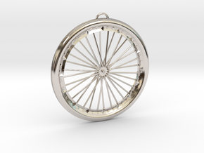 Bicycle Wheel Pendant Big in Platinum