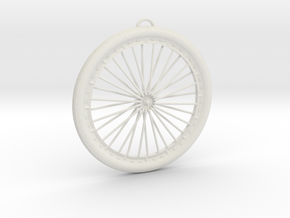 Bicycle Wheel Pendant Big in White Natural Versatile Plastic