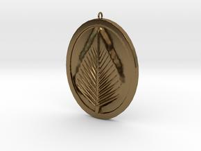 Natural Leaf Beauty Pendant  in Polished Bronze