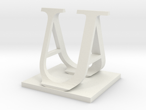 Two way letter / initial A&U in White Natural Versatile Plastic